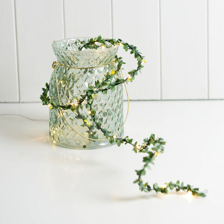 Green rattan string lights